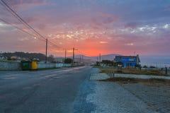 Schöner Sonnenuntergang an der spanischen Küste stockbilder