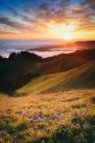Schöner Sonnenuntergang, der vom Berg Tamalpais aufpasst Lizenzfreie Stockfotografie