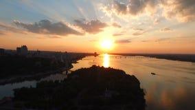 Schöner Sonnenuntergang Die Stadt von Dnipro Dnepropetrovsk stock video
