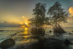 Schöner Sonnenuntergang und Sonnenaufgang von mentawai Insel Stockfotos
