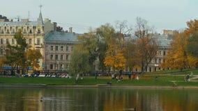 Schöner städtischer Herbstpark stock footage