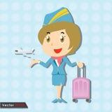 Schöner Stewardess mit blauer Uniform lizenzfreie abbildung