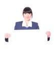 Schöner Stewardess mit einem Leerzeichen Stockbild