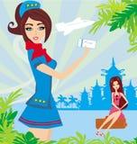 Schöner Stewardess mit Karte, abstrakte Karte mit Palmenurlaub Stockfotos