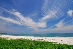 Schöner Strand mit blauem Himmel und grünem Gras. Lizenzfreie Stockfotografie