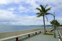 Schöner Strand mit Kokosnussbäumen Lizenzfreies Stockfoto