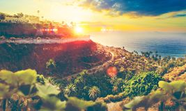 Schöner Strand und Meer in Spanien Palme und Landschaft Lizenzfreie Stockbilder