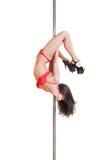 Schöner Tänzer auf dem Pol Lizenzfreie Stockfotos