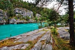 Schöner Türkisfluß in den Bergen umgeben durch Bäume in Norwegen Stockfoto