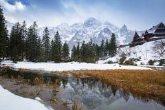 Schöner Tatra-Mountain View am Fisch-Nebenfluss Stockfotos
