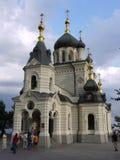 Schöner Tempel von Foros-Kirche mit vielen Touristen Foros, Krim, Ukraine lizenzfreie stockfotografie