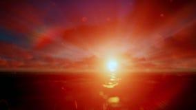 Schöner timelapse Sonnenaufgang über Ozean, godrays stock video