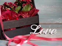Schöner Topf Blumen eingewickelt im roten Papier, Geschenk in einem hölzernen Korb, mit Liebe Lizenzfreie Stockfotos