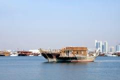 Schöner traditioneller Dhow von Qatar Stockfoto