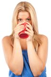 Schöner trinkender Kaffee oder Tee der jungen Frau Stockfotografie