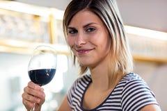 Schöner trinkender Wein der jungen Frau Stockbilder