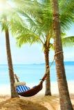 Schöner tropischer Strand mit Palme und Sand lizenzfreies stockfoto