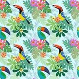 Schöner Tukanvogel mit tropischen Blumen stock abbildung