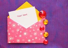 Schöner Umschlag mit einer Anmerkung Lizenzfreies Stockfoto