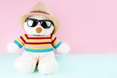 Schöner und netter Teddybär trägt eine Strickjacke und einen Hut Lizenzfreies Stockbild