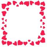 Schöner und ursprünglicher Rahmen von Herzen für Glückwünsche herein mit Valentinsgruß ` s Tag stockfotografie