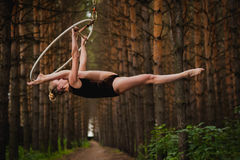 Schöner und würdevoller Luftturner tut Übungen auf dem Ring im Wald Stockbild