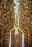 Schöner und würdevoller Trapezkünstler führt Übungen auf Luftseide durch Stockfoto