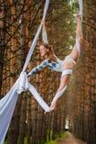 Schöner und würdevoller Trapezkünstler führt Übungen auf Luftseide durch Lizenzfreie Stockfotos