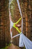 Schöner und würdevoller Trapezkünstler führt Übungen auf Luftseide durch Lizenzfreies Stockfoto