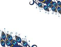 Schöner Vektorpfau versieht Hintergrund mit Federn Stockfoto