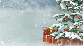 Schöner verzierter Weihnachtsbaum mit roten Präsentkartons in einer Landschaft des verschneiten Winters Stockfoto