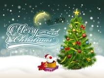 Schöner verzierter Weihnachtsbaum und Geschenke vektor abbildung