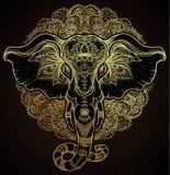 Schöner von Hand gezeichneter Stammes- Artelefant über Mandala Colorfu lizenzfreie abbildung
