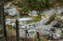 Schöner Wasserfall in den Bergen - Europa, hohes Tatras lizenzfreie stockfotos