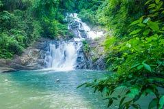 Schöner Wasserfall im Wald stockfotografie