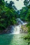 Schöner Wasserfall im Wald stockbild