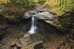 Schöner Wasserfall mit gefallenen Blättern und bunten Bäumen Lizenzfreie Stockbilder