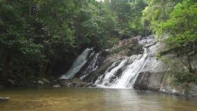 Schöner Wasserfall und See im Dschungel stock footage