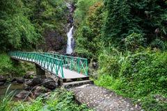 schöner Wasserfallhintergrund Stockbild