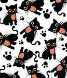Schöner weißer Hintergrund mit Muster der schwarzen Katze Lizenzfreies Stockfoto