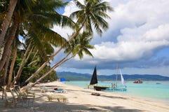Schöner weißer Sandstrand in Boracay stockfotografie