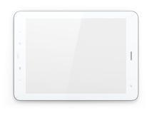 Schöner weißer Tablette-PC auf weißem Hintergrund Stockbild