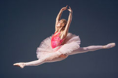 Schöner weiblicher Balletttänzer auf einem Grau Stockbilder