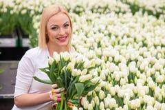 Schöner weiblicher Gärtner mit hübschen Frühlingsblumen Stockbild