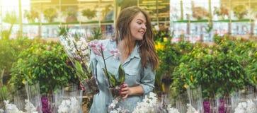 Schöner weiblicher Kunde, der bunte blühende Orchideen im Einzelhandelsgeschäft riecht stockbilder