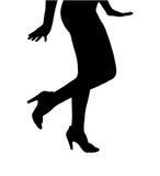 Schöner weiblicher Torso-perfekte Schuhe, die froh tanzen stockfotos