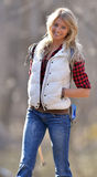 Schöner weiblicher Wanderer - Blondine Lizenzfreies Stockfoto