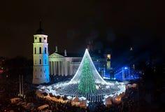 Schöner Weihnachtsbaum-Blitz Stockfotografie