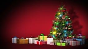 Schöner Weihnachtsbaum mit Geschenken und Geschenken Magie der Heiligen Nacht Helles Licht-Blitzen HD 1080 Geschlungene Animation lizenzfreie abbildung