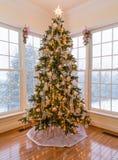 Schöner Weihnachtsbaum mit Schnee draußen Lizenzfreie Stockbilder